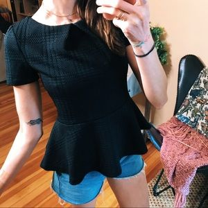 Elle black texture preppy peplum snappy casual top
